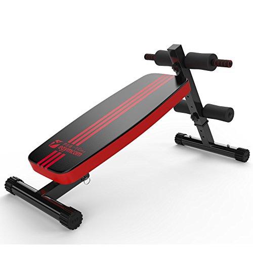 Egymcom 家庭用シットアップベンチ 自宅トレーニングマシン フラットベンチPRO 60cm*30cm 6kg(負荷150kg) ブラック&レッド フィットネス 筋肉トレ シェイプ等に適用 シットアップ プッシュアップ レッグレイズ ダンベルトレ 安定感抜群