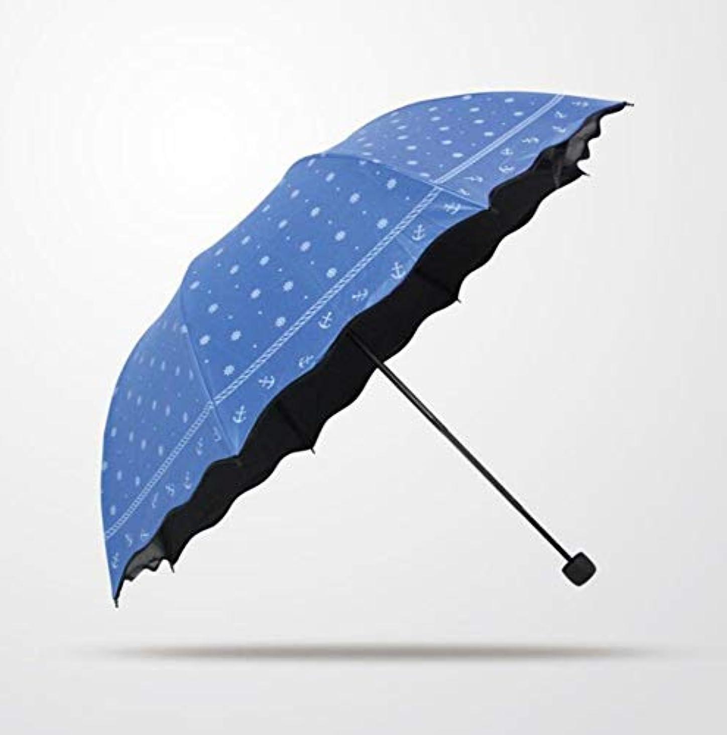 氏推進力尋ねるChuangshengnet 傘水玉ビニール傘折りたたみ傘アーチ型傘UVプロテクションマニュアル傘サンプロテクション (Color : 青)