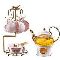 茶器ヨーロッパ茶セットコーヒーカップ大理石ゴールドサイドパターン150 mlカップ650 mlティーポットセラミック骨中国トレイアフタヌーンティーサービス (Size : F)