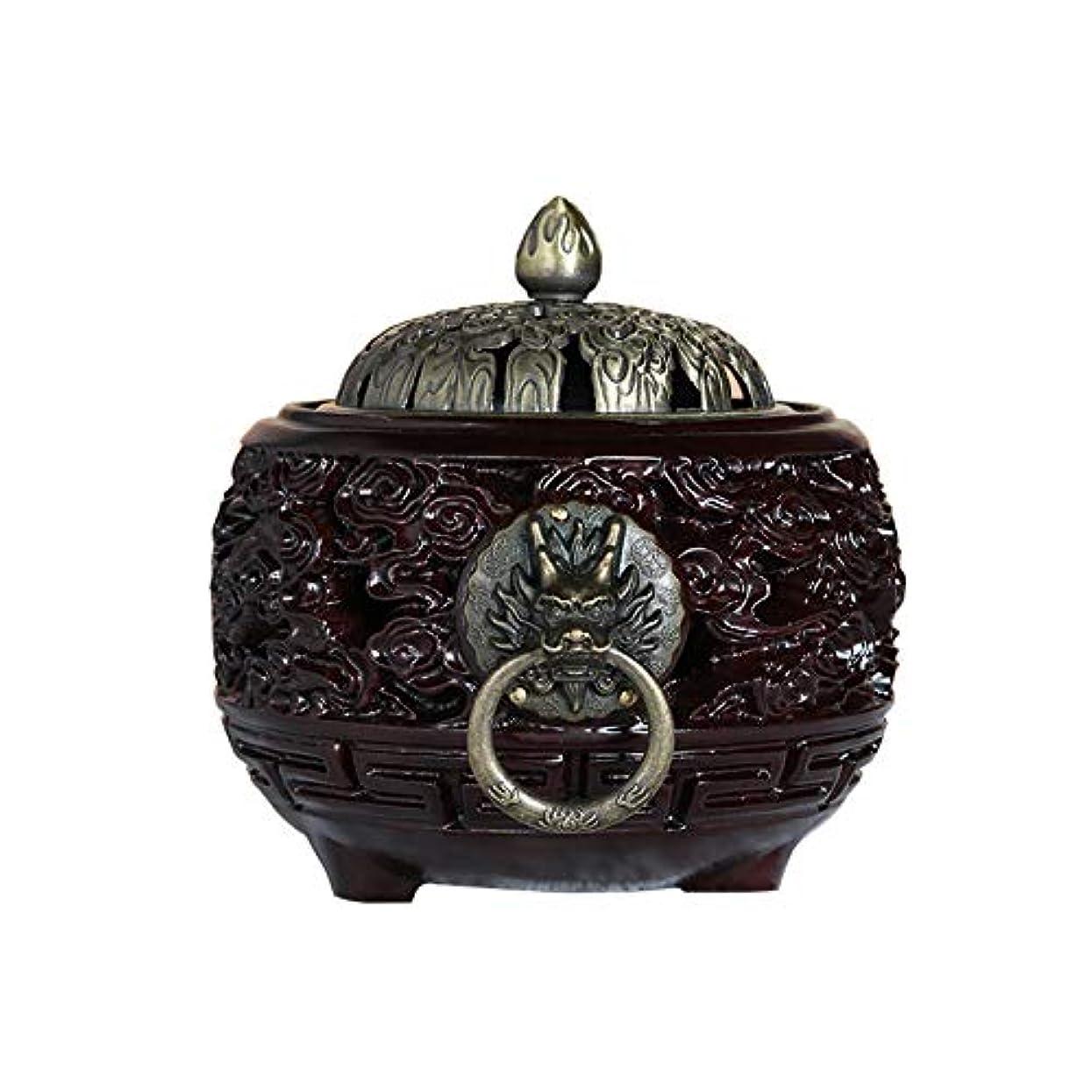PHILOGOD 線香立て マホガニーメタルカバーエンボス仏壇用香炉 香皿/お香 ホルダー 香置物