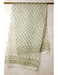 インド サンガネール プリント ( 木版染め ) シルク コットン ストール ( マフラー ショール スカーフ ) 白?グリーン系 花柄