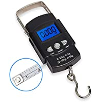 50KG Digital Travel Fish Luggage Hanging Hook with Measuring Tape Weight Scale