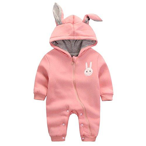 b8166d01391d9 WIN 赤ちゃん着ぐるみ カバーオール ロンパース フード付き うさぎ耳 長袖防寒着 (90cm