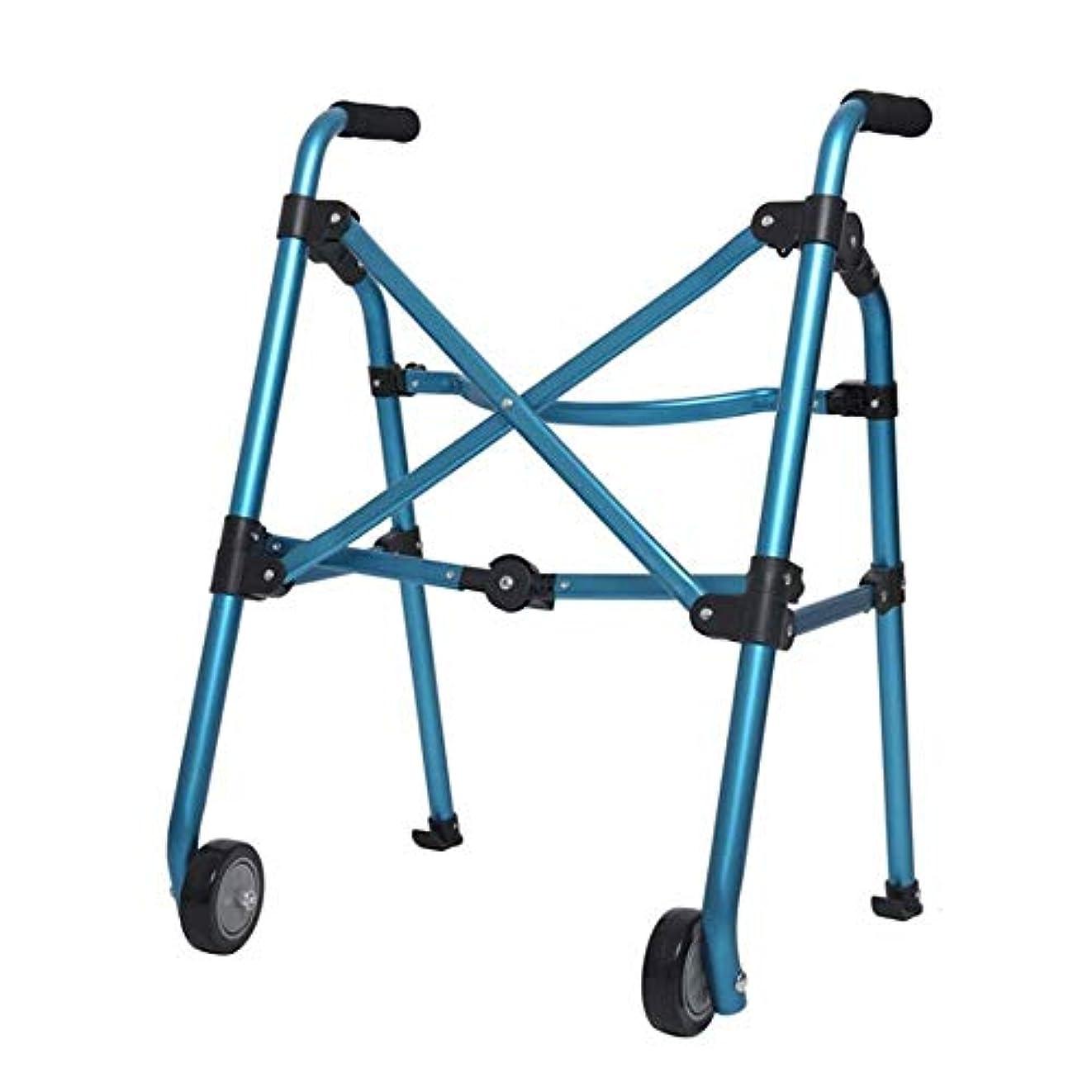 アリ今まで慣らす二輪歩行フレーム、折りたたみ式古い歩行者高齢者屋外バスルーム使用 (Color : 青)