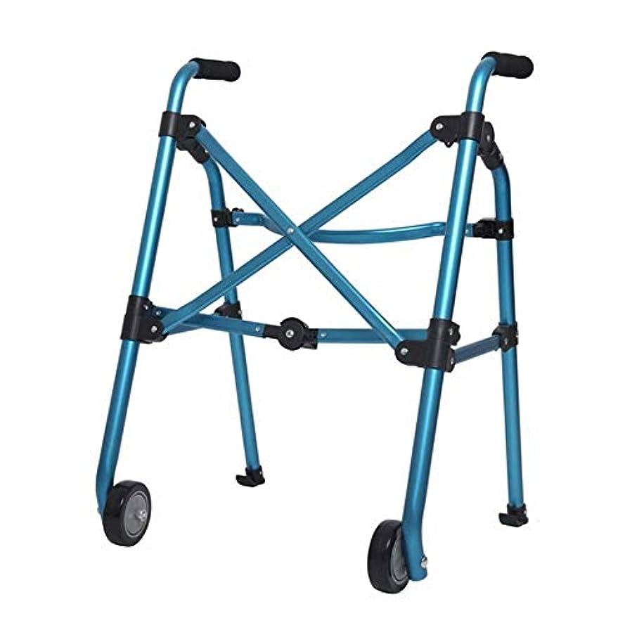 旅行代理店肩をすくめる前投薬二輪歩行フレーム、折りたたみ式古い歩行者高齢者屋外バスルーム使用 (Color : 青)