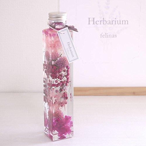 ハーバリウム[ピンク,1本]プリザーブドフラワー ドライフラワー 角瓶ロングボトル 高さ215mm Herbarium/pink