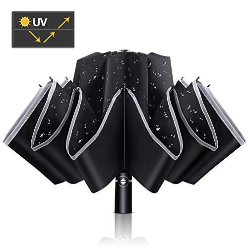 Wsky 折りたたみ傘 晴雨兼用 逆折り式 日傘 UVカット率99.9% 遮光率100% 自動開閉 10本骨 耐風撥水 梅雨対策 日焼け防止 逆さ傘 収納ポーチ付き