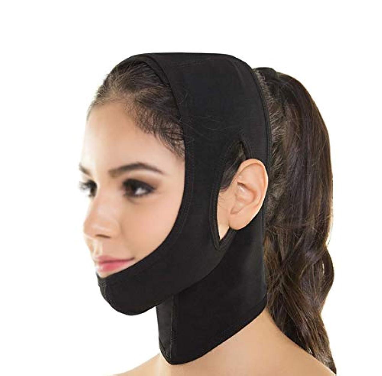 牧草地違反示すGLJJQMY フェイシャルリフティングマスクシリコンVマスクリフティングマスクシンフェイスアーティファクトリフティングダブルチン術後包帯フェイシャル&ネックリフティング 顔用整形マスク (Color : Black)