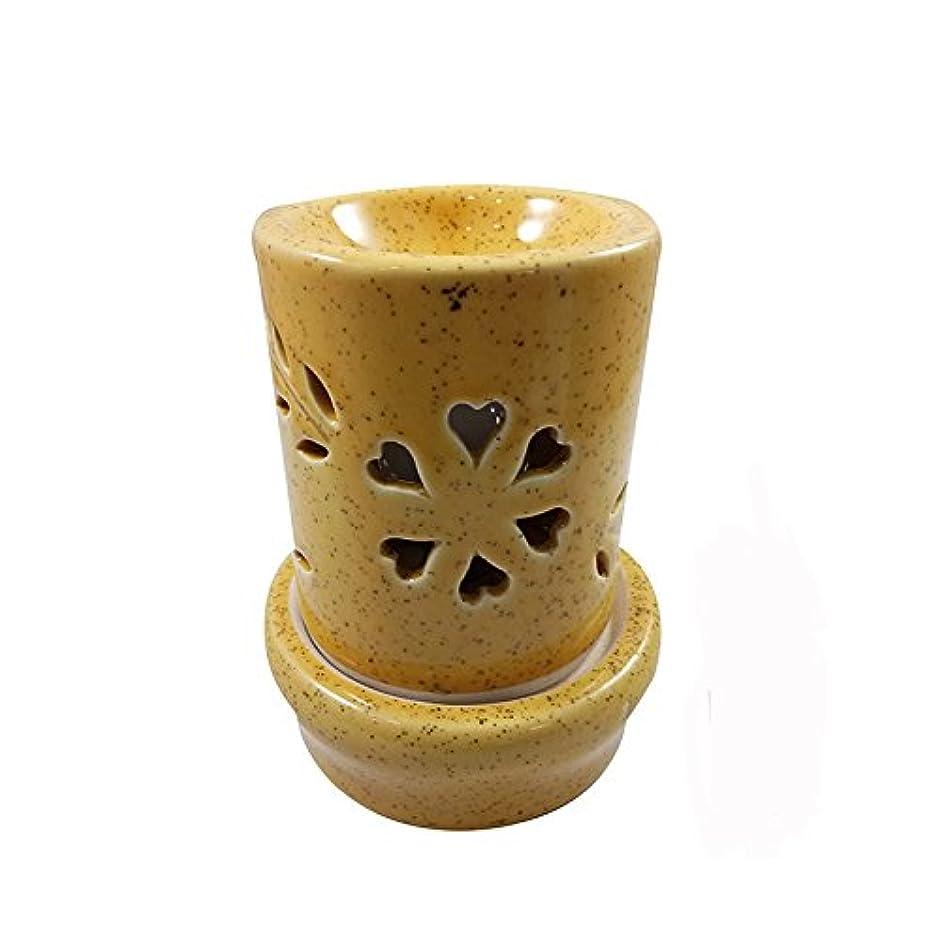 プレフィックスあいまいな石のホームデコレーション定期的に使用する汚染のない手作りセラミックエスニックアロマディフューザーオイルバーナー|良質ブラウン色電気アロマテラピー香油暖かい数量1