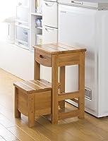 踏み台 2段 使わない時は、コンパクト に! 収納家具 便利収納 木製踏み台