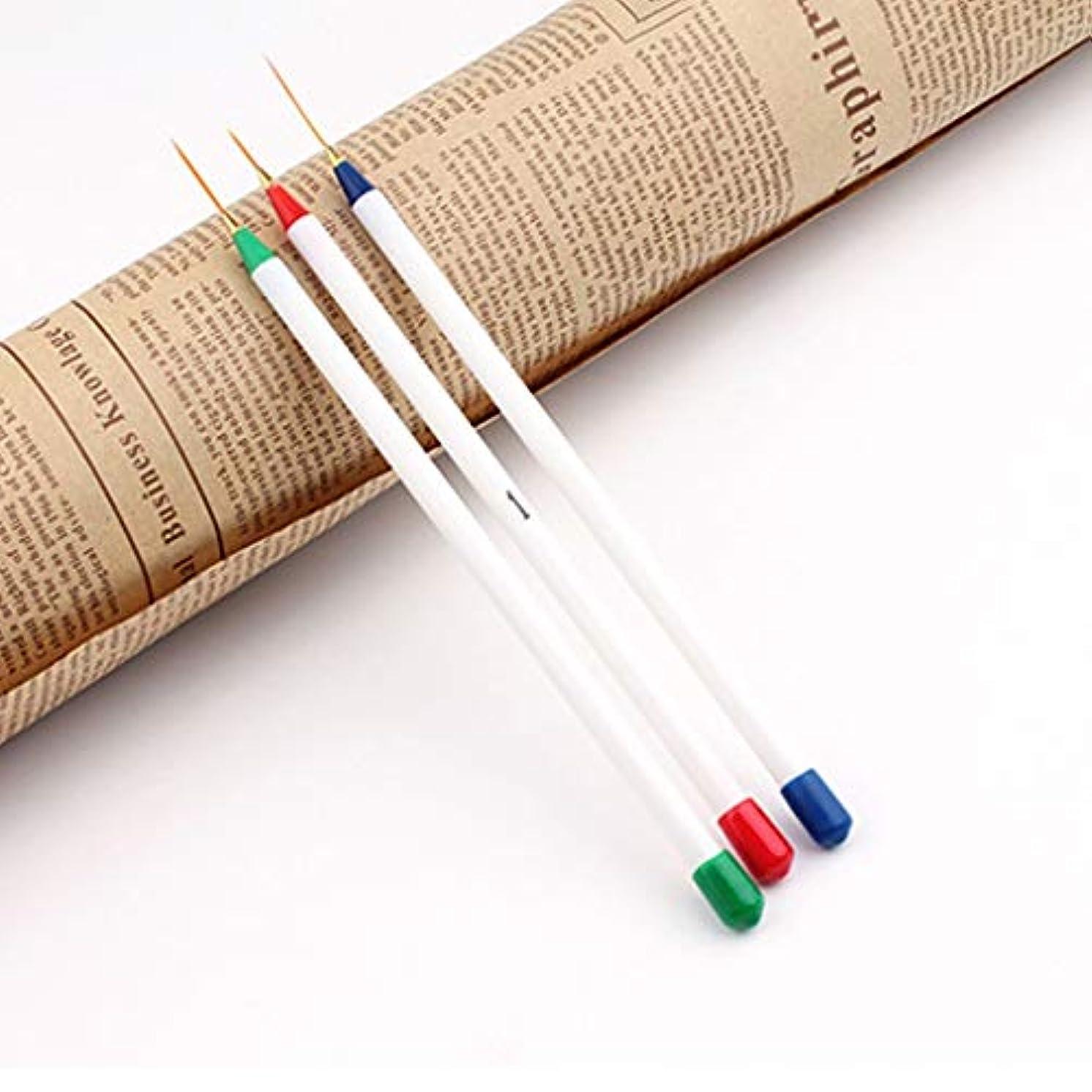 核ピーク有名なYan 3ピースネイルdiyデッサン絵画ストライププラスチックプルラインペンスーパーファインブラシキットツール