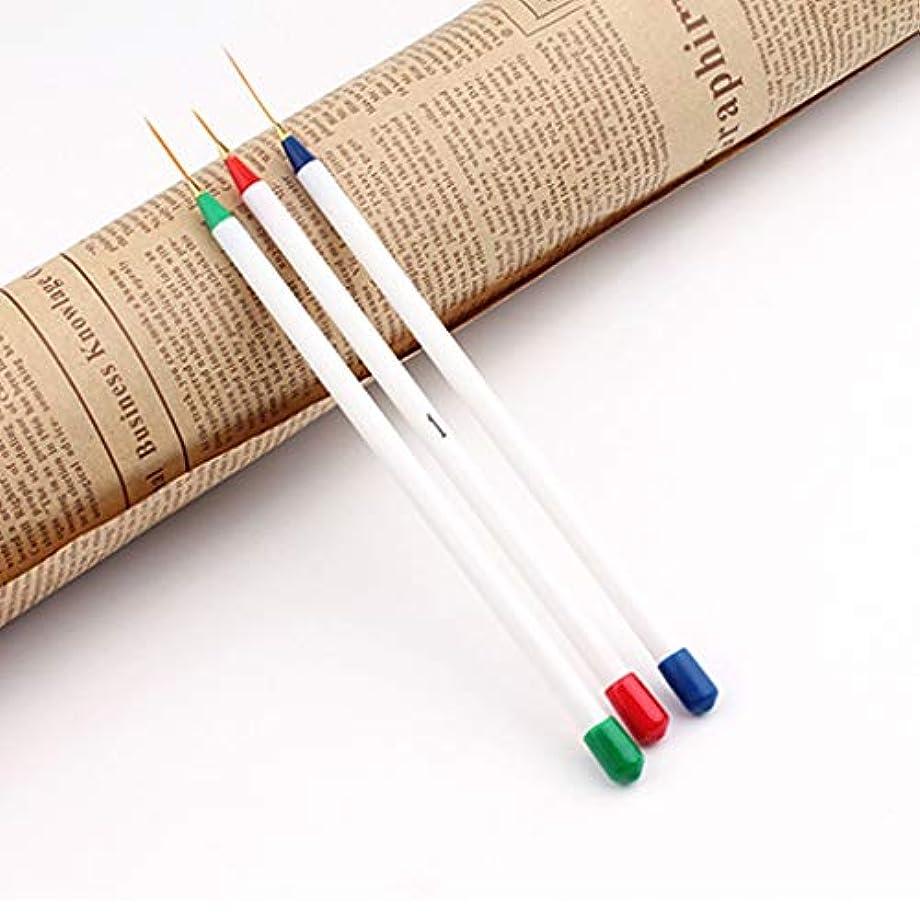 Yan 3ピースネイルdiyデッサン絵画ストライププラスチックプルラインペンスーパーファインブラシキットツール