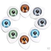 D DOLITY 8ペア 4色 ドールのアイ 人形の目 ぬいぐるみ マスク クラフト 細工 手芸 交換 4サイズ選べ - 8mm