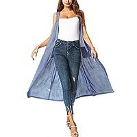 ZEGOLO Women's Long Open Front Cardigan Vest Drape Lightweight Duster Maxi Sleeveless Cardigans with Pockets & Belt