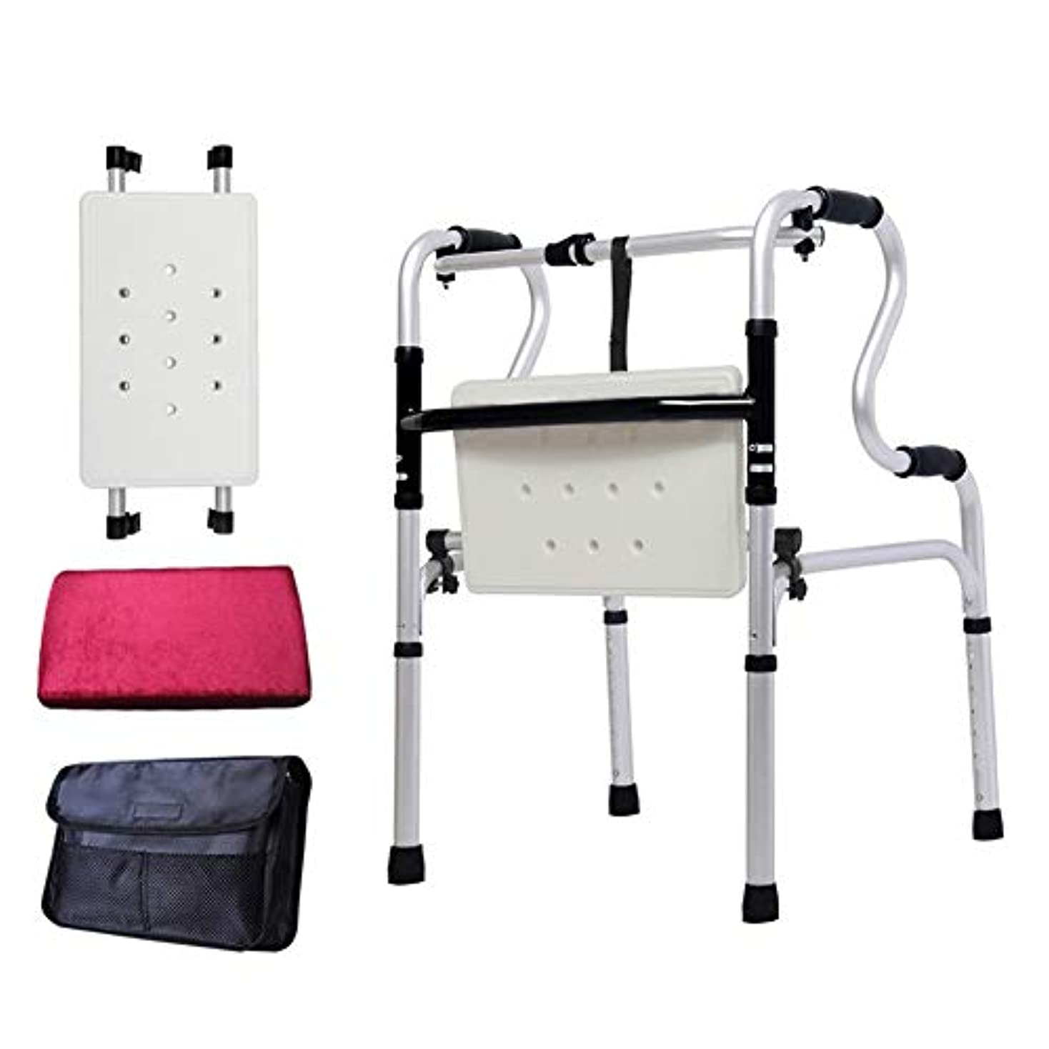 ピービッシュ一杯規模ステッキ 折りたたみ式ウォーカー、高齢者用、身体障害者用、誕生日プレゼント実用的な身長調節可能な歩行補助具付きフリップバスプレートと収納袋