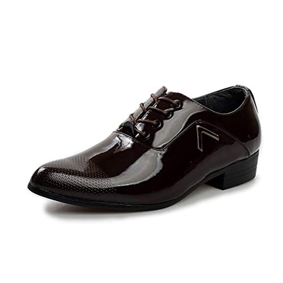 マイコン市の中心部クリーク[Poly] メンズシューズ レザーシューズ ドレスシューズ レースアップ ビジネスシューズ カジュアル靴 紳士靴 ハイヒール エナメル ストレートチップ G-P1570