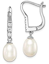 5312e26d7 925 Sterling Silver Rhod Plat 8mm White Rice Freshwater Cultured Pearl  Cubic Zirconia Cz Leverback Earrings