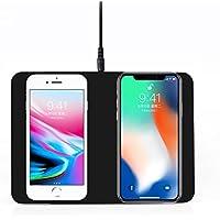 Qi認定 ワイヤレス充電 2in1同時に充電可能 急速 ワイヤレスパワーチャージャーボード 置くだけ充電器 iPhone X / iPhone 8 / iPhone 8 Plus / Galaxy S8 / S8 Plus /S7 / S7 Edge / S6 / S6 Edge / Note 8 / Note 5 / Nexus 5 / 6 対応 他のQi対応機種