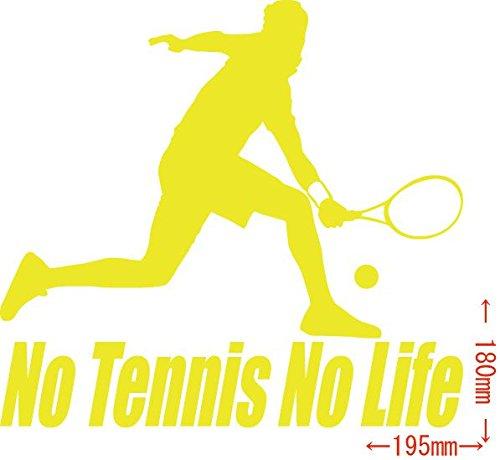 ノーブランド品 カッティングステッカー No Tennis No Life (テニス)・4 約180mm×約195mm イエロー 黄