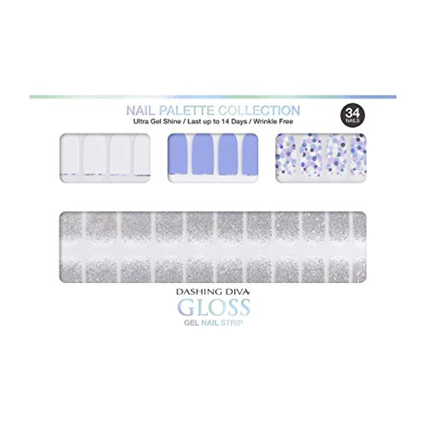 九月外出冗長ダッシングディバ グロスジェル ネイルストリップ DASHING DIVA Gloss Gel Nail Strip DGNP09-DURY+ オリジナルジェル ネイルシール Ice #09 Sprinkler