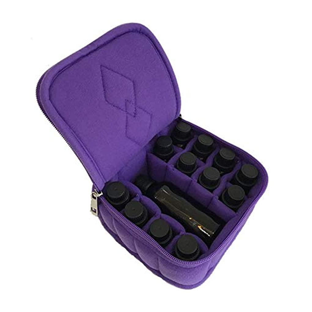 バスト見出し豊かにするエッセンシャルオイルボックス 12個のスロットオイルレザーハードシェル外部ストレージ組織と外部ストレージ統合袋 アロマセラピー収納ボックス (色 : 紫の, サイズ : 15X15X8CM)