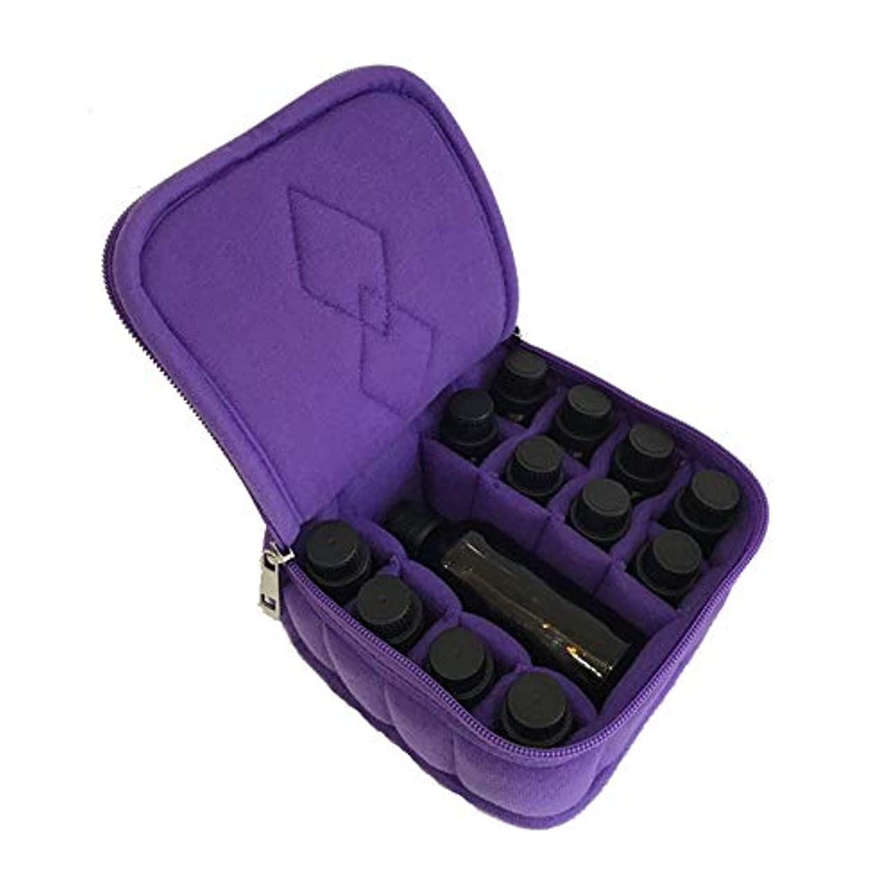 原始的な首個人的な精油ケース 主催は、保持ケースエクステリア収納ボックスキャリング12のスロットエッセンシャルオイル 携帯便利 (色 : 紫の, サイズ : 15X15X8CM)