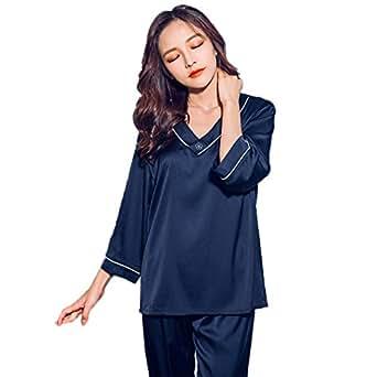 シルク パジャマ レディース 光沢があり心地よい肌さわり 長袖 上下セット ルームウェア Luuhann (L, ブルー)