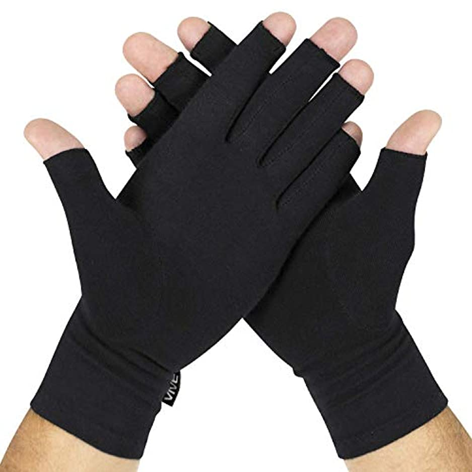 思いやりのあるテンションステープルAMAZACER 関節炎の関節症状の救済(2個)、5pair、Sのための関節リウマチ手袋、手の痛みや変形性関節症のために男性と女性の指なし圧縮ラップ (Color : 10pair, Size : Large)