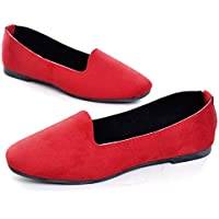 Hee grand Womens Ballet Flats Printed Slip On Round Toe Loafers Flat Shoes Womens Faux Suede Red