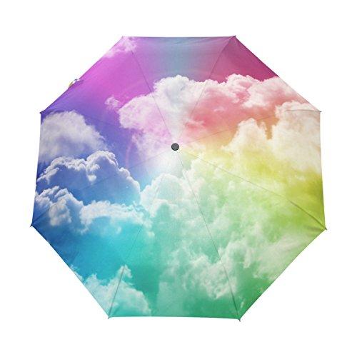マキク(MAKIKU) 折り畳み傘 自動開閉 軽量 ワンタッチ 梅雨対策 頑丈な8本骨 耐強風 撥水 グラスファイバー 収納ケース付 傘 レディース メンズ レインボー 虹色 青空