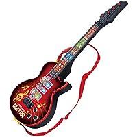 玩具ギター HAOUN エレキギター キッズギター 4弦ミニギター LED キッズ楽器 楽器玩具 知育玩具 教育玩具 - レッド1