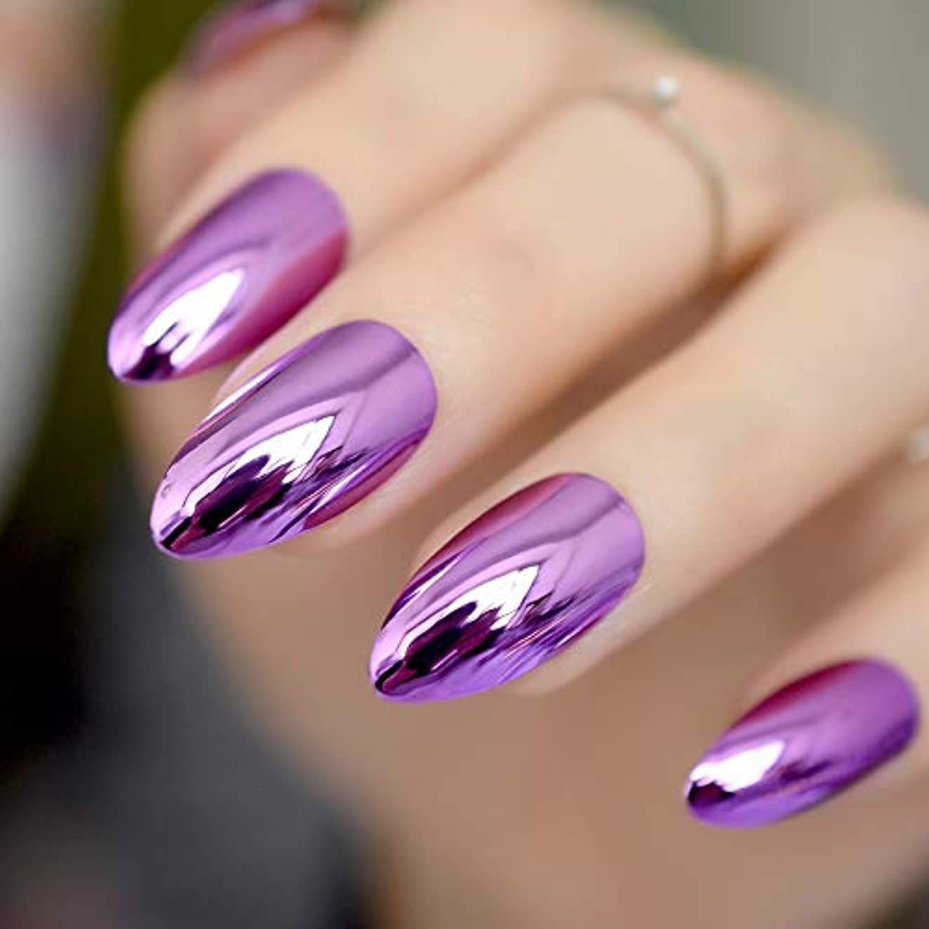 要塞分類するバンクXUTXZKA 女性の指のヒントのためのアクリルパープル偽ネイルメタルミラー偽ネイルミディアムシャープスチレットネイル