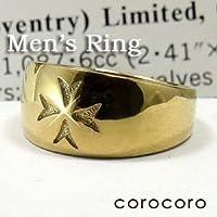 クロス模様入りゴールドメンズリングK18金指輪シンプルボリューム男性リング