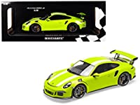 Minichamps 2015 Porsche 911 GT3 RS Light Green with White Stripes Limited Edition to 222 Pieces Worldwide 1/18 Diecast Model Car 155066224