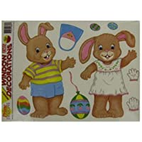 Brand New Dress-up Easter bunny window clings [並行輸入品]