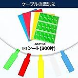 BEATON JAPAN ケーブル ラベル 300ラベル 10枚A4 ケーブルタグ 識別 防水 耐油 外でも使える (白300ラベル) 画像