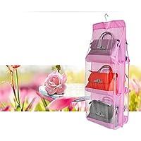 ハンドバッグ用ハンガー バッグ収納吊りラック クローゼット収納 棚 鞄かけ ハンガー(ピンク)