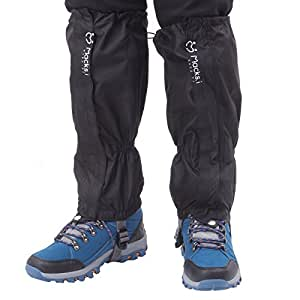 Macks.i(マックス・アイ) 登山 トレッキング 用 防水 ロング スパッツ &収納ポーチセット MITW-SPBK01