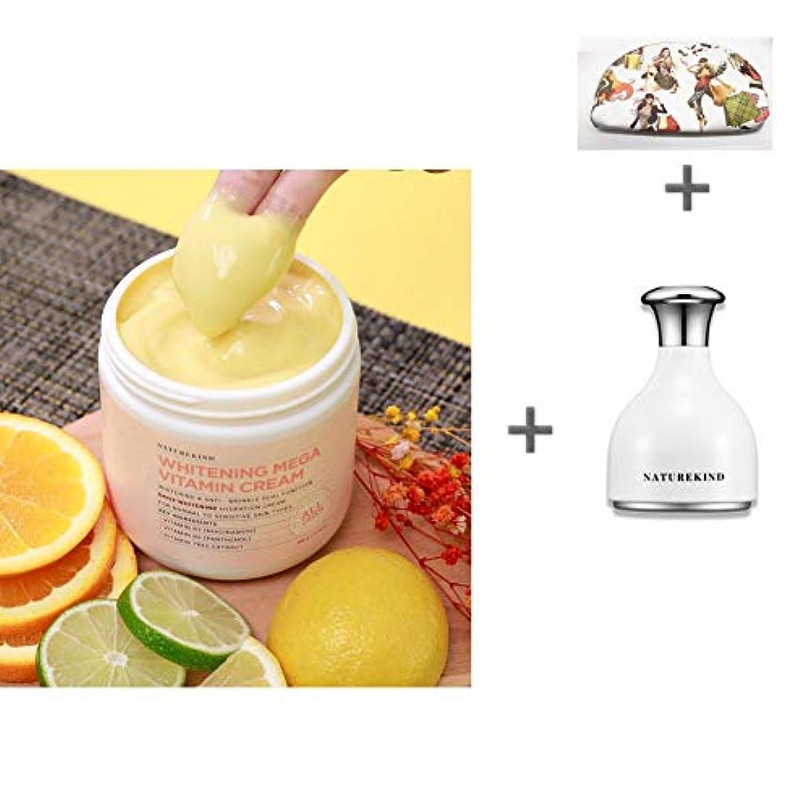 最大蜜はさみ[ネイチャーカインド]美白ビタミンクリーム500gの大容量Vitamin Cream /全成分100%グリーン評価/敏感肌にも安心/トンオプ/保湿/くすみ除去/美白クリーム [海外直送品][並行輸入品] (クリーム+クーリングスティック)