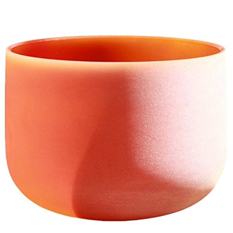 Orange Colored Frosted D Sacral Chakra Quartz Crystal Singing Bowl 12