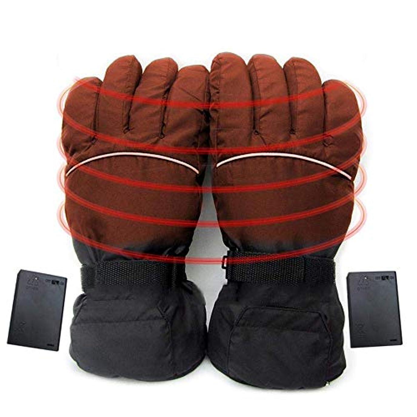 首尾一貫した質素なくぼみ電気温水手袋、厚み付け防水冬の熱手袋充電式暖房手袋、防風スポーツスキーアウトドアキャンプハイキンググローブ,黒