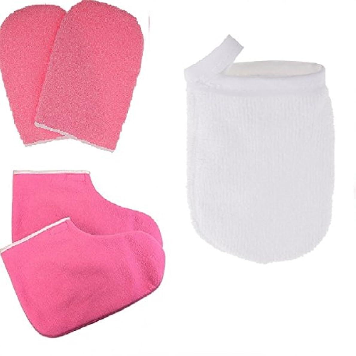 オークション船尾スタンドパラフィン蝋手袋およびブーティのスキンケアが付いている表面構造の清潔になる手袋
