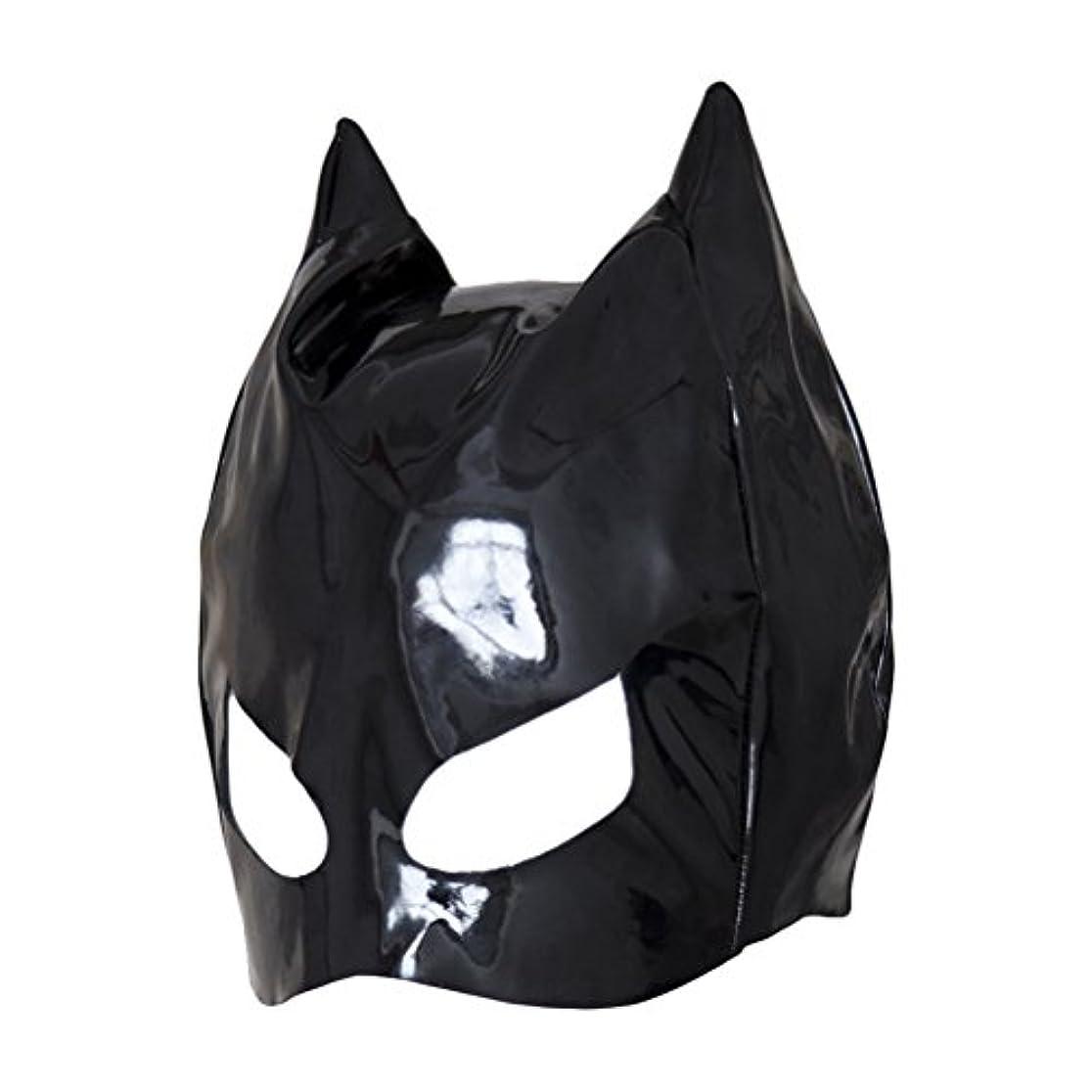 燃やすホテル基本的なHealifty 全頭マスク フェイスカバー オープンアイズ PUレザーフード コスプレ 衣装帽子 ユニセックス (ブラック)