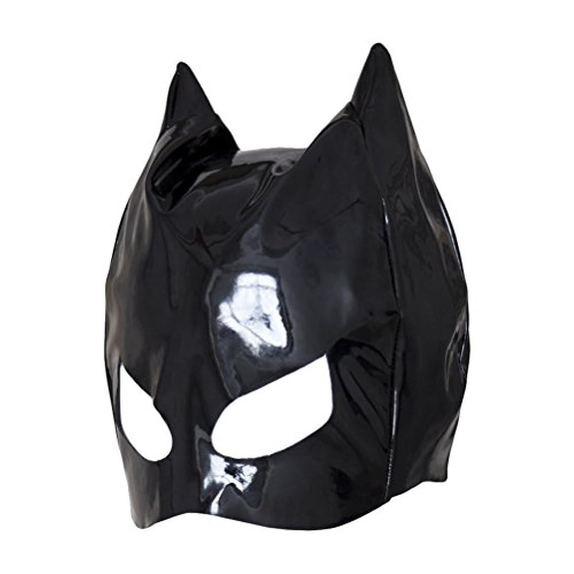 あいにく悲しむバイソンHealifty 全頭マスク フェイスカバー オープンアイズ PUレザーフード コスプレ 衣装帽子 ユニセックス (ブラック)