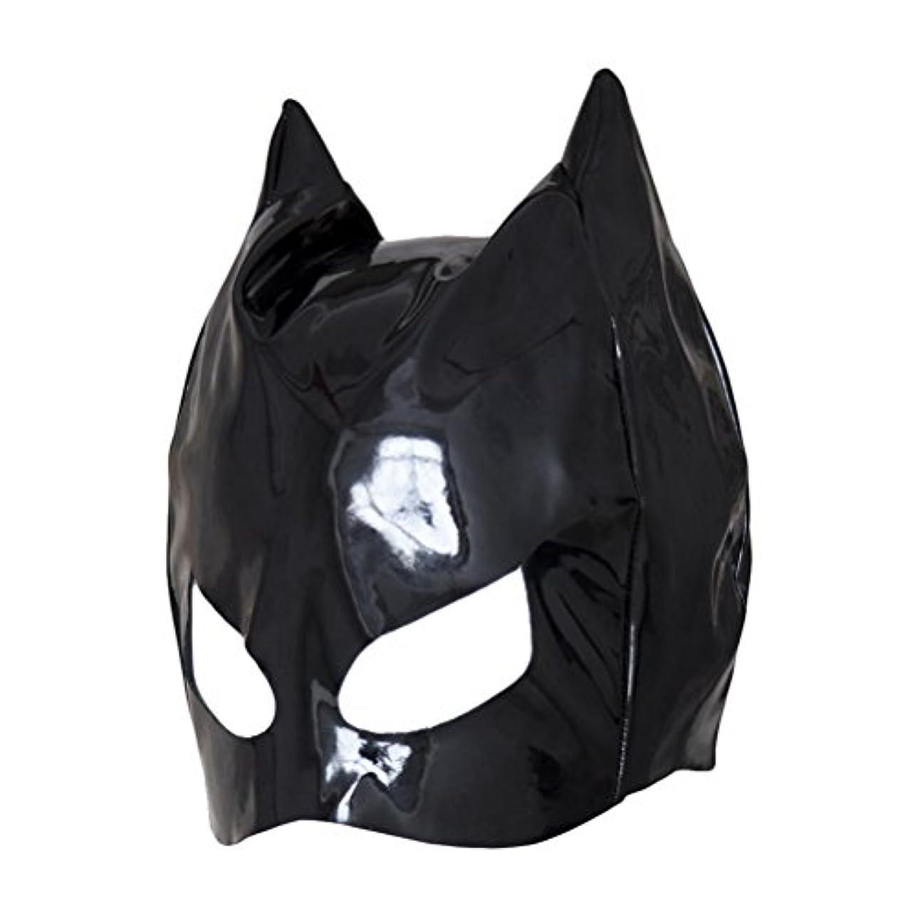 軽蔑動オプションHealifty 全頭マスク フェイスカバー オープンアイズ PUレザーフード コスプレ 衣装帽子 ユニセックス (ブラック)