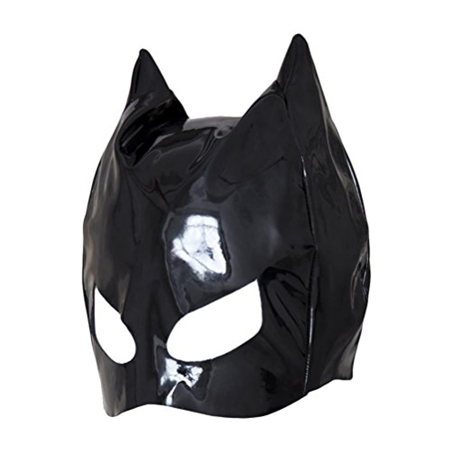 ポジティブみぞれラジカルHealifty 全頭マスク フェイスカバー オープンアイズ PUレザーフード コスプレ 衣装帽子 ユニセックス (ブラック)