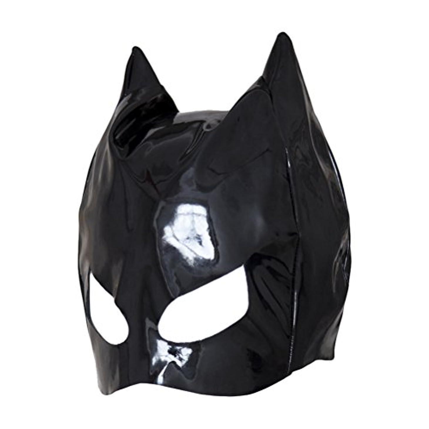 思慮のない餌重なるHealifty 全頭マスク フェイスカバー オープンアイズ PUレザーフード コスプレ 衣装帽子 ユニセックス (ブラック)