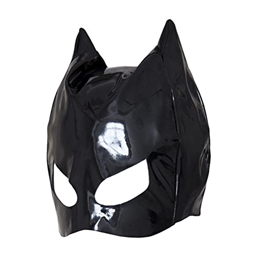 ブルジョン十億凝視Healifty 全頭マスク フェイスカバー オープンアイズ PUレザーフード コスプレ 衣装帽子 ユニセックス (ブラック)