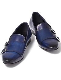 [ルシウス] LUCIUS ビジネスシューズ メンズ スリッポン ダブルモンクストラップ ローファー 本革 レザー ドレスシューズ プレーントゥ 革靴 紳士靴 【920-L2-CPZ】