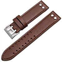[Richie strap]22mm Brown Leather Brown line watch band strap Silver buckle Fits For Hamilton Khaki Field Aviation H70595593